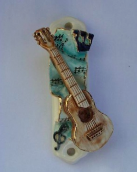 Guitar Mezuzah - Painted Porcelain