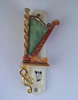 Harp Mezuzah - Painted Porcelain