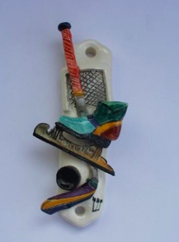 Hockey Mezuzah - Painted Porcelain