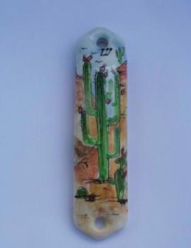 Cactus Mezuzah - Painted Porcelain