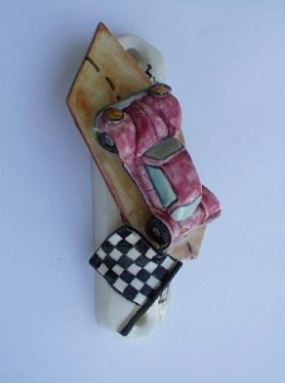 Race Car Mezuzah - Painted Porcelain