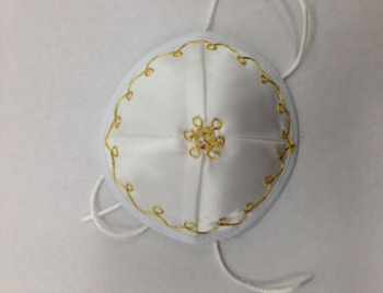 White and Gold Baby Kippah - Satin