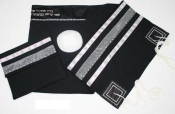 Israeli Black Wool Talit - Wool