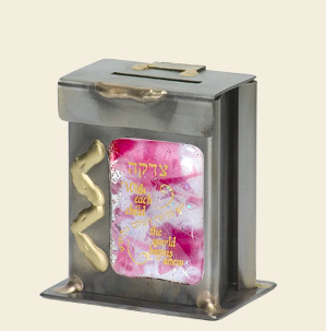 Small Pink Baby Tzedakah Box - Glass, Steel, and Copper