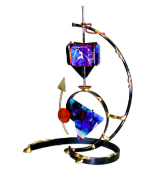 Colorful Triangle Dreidel - Glass, Steel, and Copper