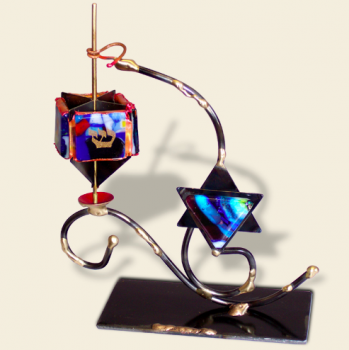 Dreidel on Star of David Stand - Glass, Steel, and Copper