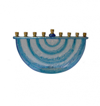 Blue Menorah - Glass