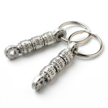 Healing Prayer Wheel Keychain - Pewter