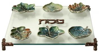 Leaves Seder Plate Silver SDR03A