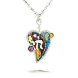 Judaic Chai (Life) & Heart Necklace - Steel