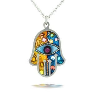 Blue and Pink Protection Hamsa Necklace - Stainless Steel