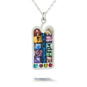 Judaic Tablet Necklace - Metal
