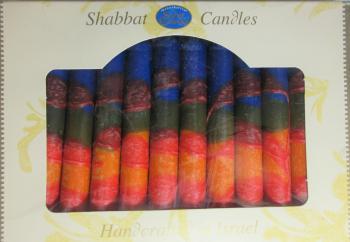 Safed Shabbat and Holiday Candles Blue Orange