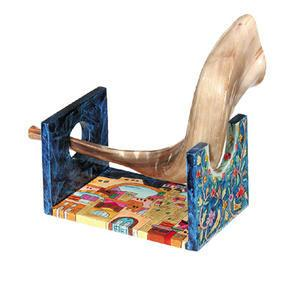 Jerusalem Shofar Stand - Painted Wood