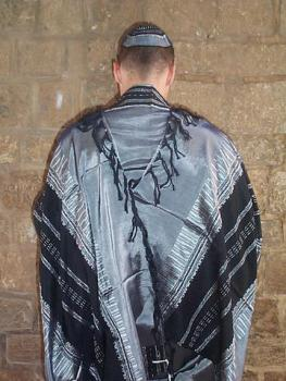 Silk Tallit - Gray with Black Design