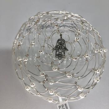 Silver Wire Kepa With Hamsa Pearls