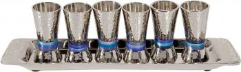 Kiddush Cup Set - Hammered Steel
