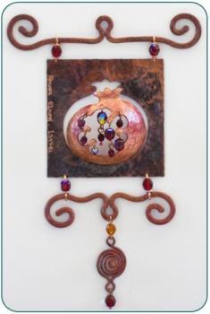 Pomegranate Wall Tile by Ahuva Elany - Copper