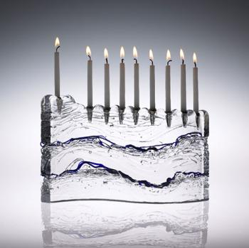 'S' Menorah Blue - Glass