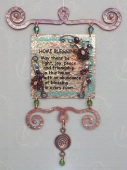 Home Blessing Wall Tile by Ahuva Elany - Copper