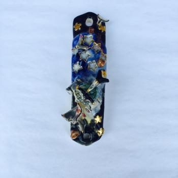 Space Mezuzah - Painted Porcelain