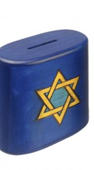 Star of David Tzedakah Box in Blue