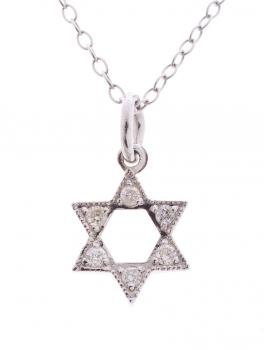 Star of David, 14k White Gold with Diamonds by Alef Bet