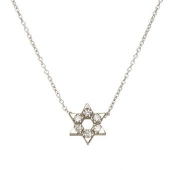 Star of David, 14k White Gold with Diamonds, Small by Alef Bet