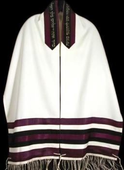 Men's Tallit Purple and Black Stripes - 2511
