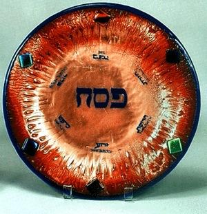 Seder Plate - Infused Glass with Copper