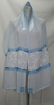 Blue Sheer Talit  - Organza