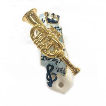 Trumpet Mezuzah-Painted Porcelain
