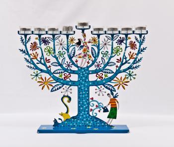 Blue Family Tree Menorah