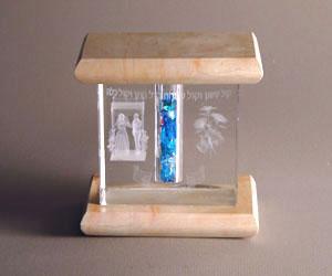 Mazel Tov Cube - Jerusalem Stone and Glass
