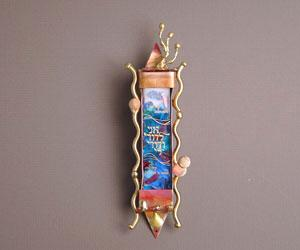 Classic Wedding Mezuzah - Glass and Copper