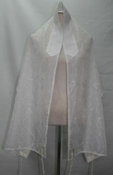 White Floral Talit  - Organza