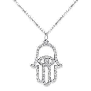 Diamond Evil Eye Necklace - Gold