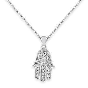 Diamond Hamsa Necklace - Gold
