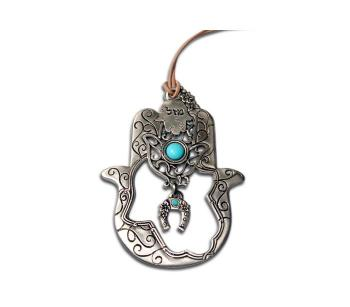 Turquoise Hamsa - Silver Plated