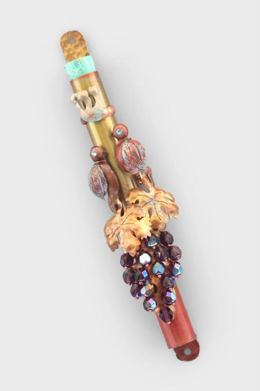 Birds and Grape Vine Mezuzah