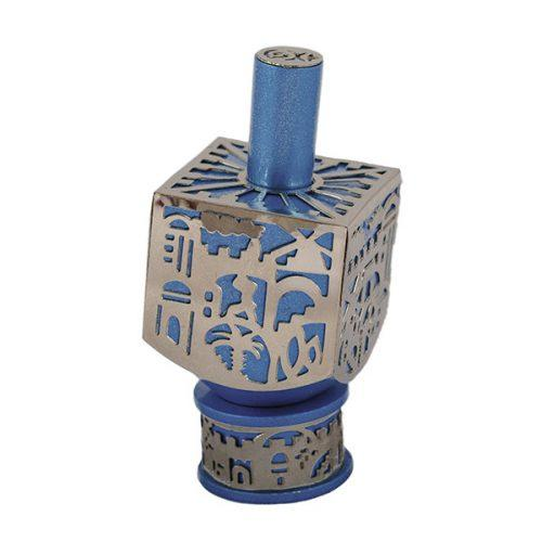 Jerusalem Pattern Cut Out Dreidel Blue