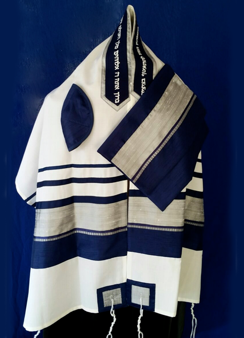 Men's Traditional Blue and Silver Tallit Set
