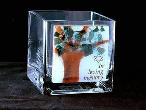 Tree of Life Yarzheit Candle Holder - Glass