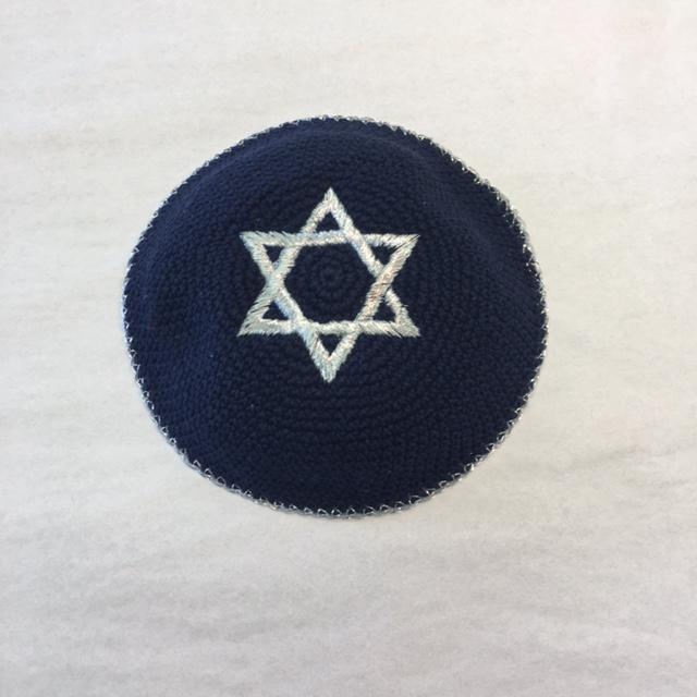 Elegant Blue and Silver Star Kippah
