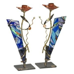 Geometric Candle Holders - Glass, Steel, and Copper