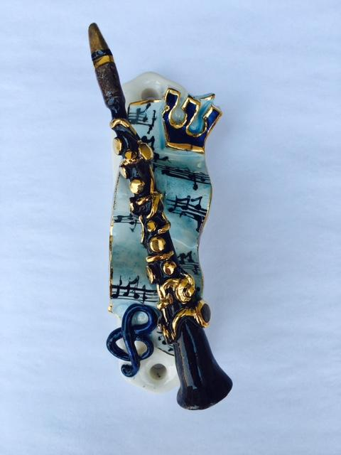Clarinet Mezuzah - Painted Porcelain