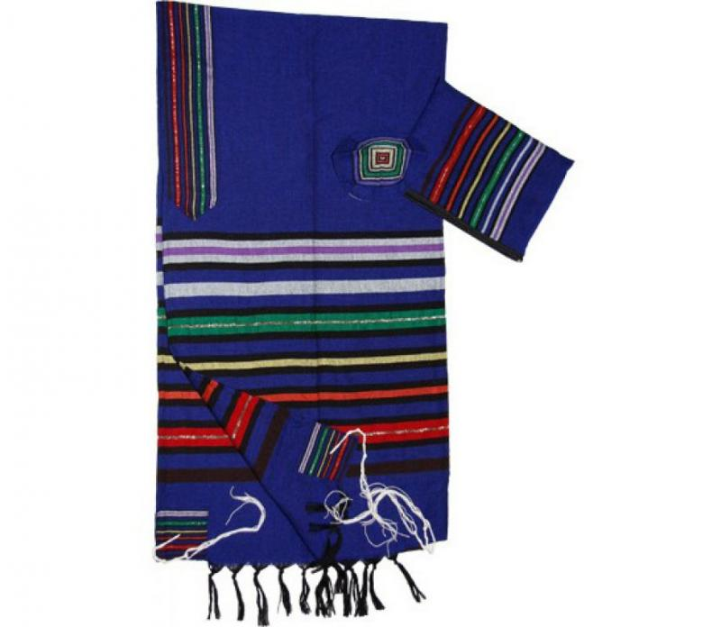 Wool Tallit - Joseph's Coat on Blue