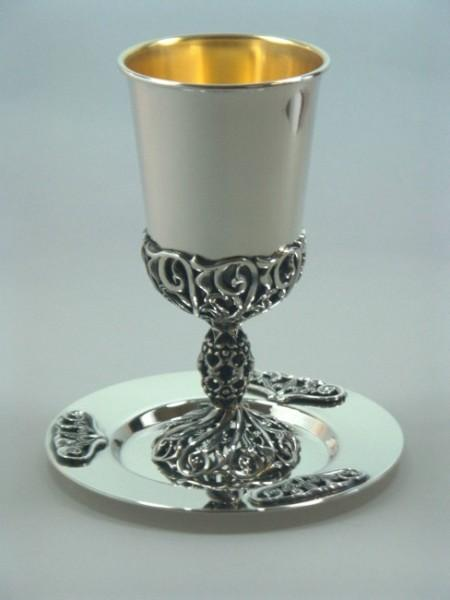 Floral cut Kiddush Cup & Tray