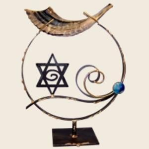 Large Shofar Holder - Glass, Steel, and Copper