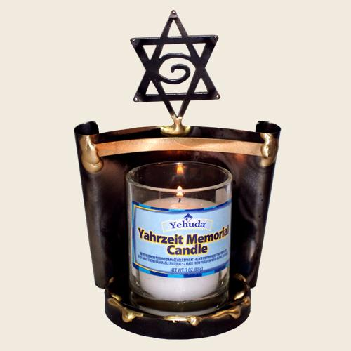 Scrolled Yartzeit Candle Holder